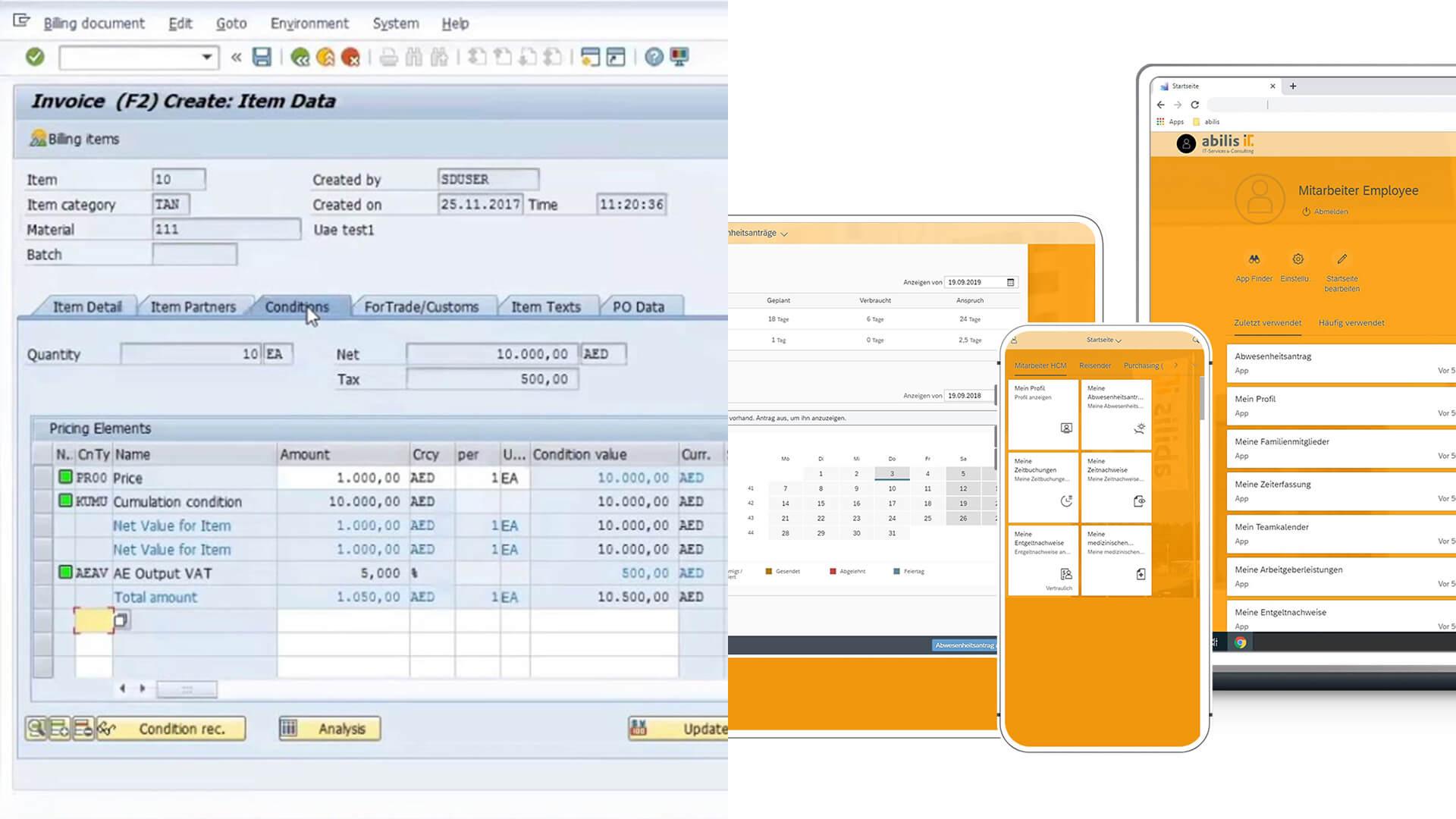 Vergleich Oberfläche SAP ERP ECC 6.0 und SAP Fiori von SAP S/4HANA