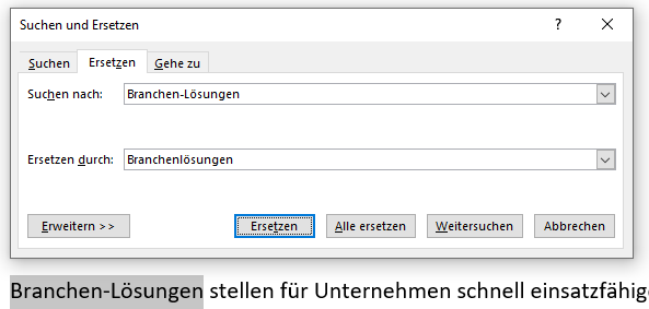 Microsoft Word Tipps Ersetzen-Funktion