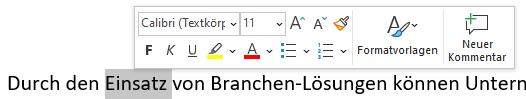 Microsoft Word Tipps Schnellformatierung Pop-Up